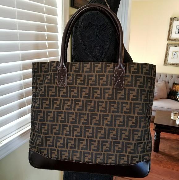4c57ee1b616c Fendi Handbags - AUTH FENDI ZUCCA CANVAS LEATHER TOTE BAG